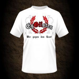 weißes Wir gegen den Rest Shirt der Band Egoisten